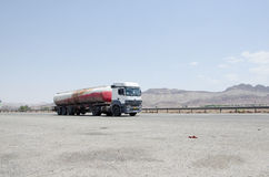 Truck. Tanker truck on the road, Qom-Tehran freeway Royalty Free Stock Photos