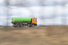 Truck tankers at full speed. Dynamic photo of the truck at full speed Royalty Free Stock Image
