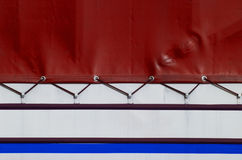Truck tarpaulin. Sheet of trucks of various colors Stock Photo