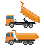 Truck ten wheel dumping action Royalty Free Stock Images