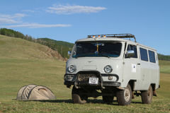 Truck and tent in a steppe landscape Royalty Free Stock Photo