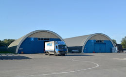 The truck in the territory of a modern warehouse. Kaliningrad, Russia. 16.09.2014 Royalty Free Stock Photography