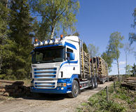 Truck with timber Stock Photo