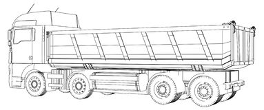 Truck tipper. Created illustration of 3d. Wire-frame. EPS 10 vector format royalty free illustration