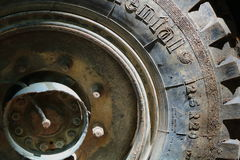 Truck tire. Big truck tire from up close Stock Photo