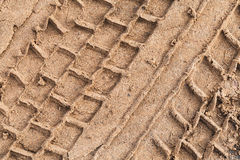 Truck tire track on wet sand Stock Image