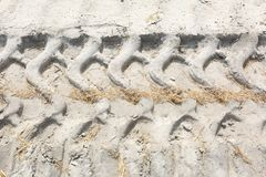 Truck Tire Tracks in Sand of Road Work Construction stock photos