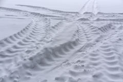 Truck tire tracks on snow. Stock Image