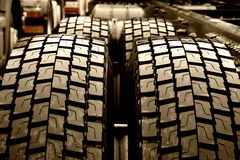 Truck tires. Wet truck tires Stock Photography
