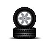 Truck tires with wheels and shadow Royalty Free Stock Photos