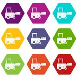 Truck to lift cargo icon set color hexahedron Stock Photo