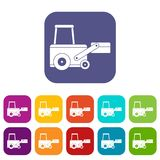 Truck to lift cargo icons set flat Stock Images