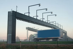 Truck and toll gate Royalty Free Stock Photos
