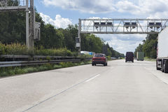 Truck toll system. German highway - control gantry stock photography