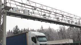 Truck toll system stock footage