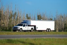 Truck towing trailer Stock Image