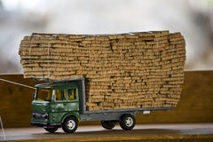 Truck toy full of cork bark Stock Images