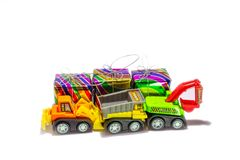 Truck toy and gift box isolate on white background stock images