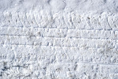 Truck tracks in hard packed snow. A close view of tire tracks in hard packed snow Stock Photography