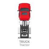 Truck Tractor on Red Car service Transport Item. Truck tractor on red car service means of transportation  on white. Vector city transport icon, trailer for Stock Photography