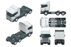 Truck tractor or semi-trailer truck. View front, rear, side, top and isometry front, back.. Cargo delivering vehicle. Template vector isolated on white royalty free illustration