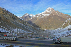Truck traffic in the hairpin curves at Paso International Los Libertadores or Cristo Redentor, Chile Royalty Free Stock Images