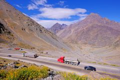 Truck traffic in the hairpin curves at Paso International Los Libertadores or Cristo Redentor, Chile royalty free stock photography