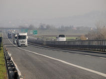 Truck traffic on motorway stock images