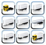 Truck Trailaers Icons Set Stock Photography