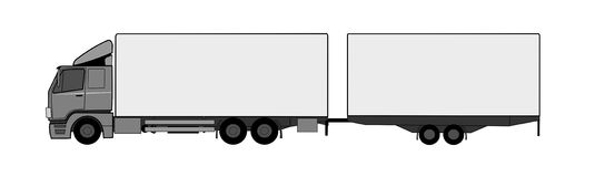Truck with trailer. A illustration of truck with trailer vector illustration