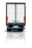 Truck trailer. Back view with closed doors stock image