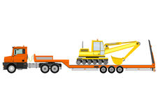 Truck with trailer. Cartoon tractor unit with a heavy trailer isolated on white background. Vector Royalty Free Stock Images
