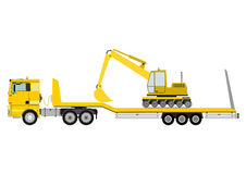 Truck with trailer. Cartoon tractor unit with a heavy trailer isolated on white background. Vector Stock Photo