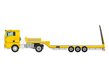 Truck with trailer. Cartoon tractor unit with a heavy trailer isolated on white background. Vector stock illustration