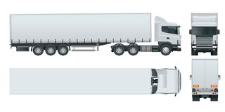 Truck trailer with container. Cargo delivering vehicle template vector isolated on white View front, rear, side, top. Car for the carriage of goods royalty free illustration