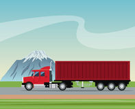 Truck trailer container delivery transport road mountain background Stock Images