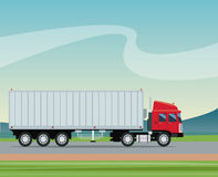 Truck trailer container delivery transport road rural background Stock Images