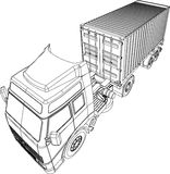 Truck and trailer container van. Line drawing of a Truck and trailer with 20 footer container van stock illustration