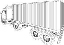 Truck and trailer container van stock illustration