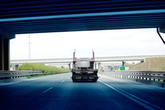 Truck  trailer exiting Hungarian tunnel Royalty Free Stock Photos