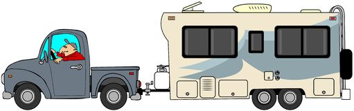 Truck and trailer. This illustration depicts a man driving a truck and pulling a standard travel trailer Royalty Free Stock Photography