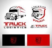 Truck Trailer Logo. Transportation Truck Logo Vector Design. Truck Trailer logo Shape with red and black colors stock illustration