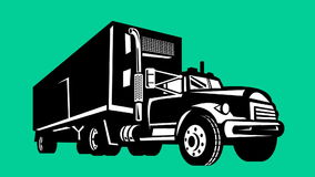 Truck and trailer lorry retro. 2d animation of a truck and trailer lorry  done in retro style on green screen background stock footage