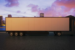 Truck trailer on night city background. Side view of empty truck trailer on night city background. Mock up, 3D Rendering Royalty Free Stock Photography