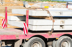 Truck-trailer with precast concrete Royalty Free Stock Photos