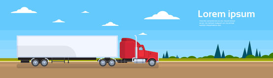 Truck Trailer Road Cargo Shipping Freight Transportation Stock Image