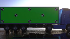 Truck, trailer on the road, highway. Transports, logistics shipping concept. Simple Green Screen Tracking. 3d rendering