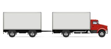 Truck with trailer side view royalty free illustration