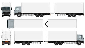 Truck trailer template. Trailer truck template. Isolated vector freight car. The ability to easily change the color. All sides in groups on separate layers. View vector illustration