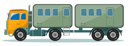 Truck with Trailer to Transport People, Vector Stock Photo